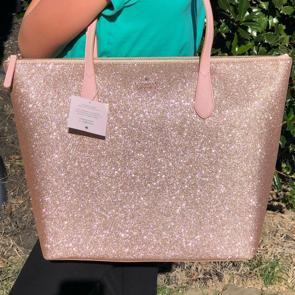 kate spade Handbags - Authentic Kate Spade Sparkly Rose Gold Tote NWT!!